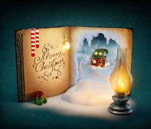 Magical opened book with fairy country and christmas stories. Unusual christmas illustration